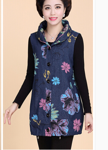0e55f6624f Mulheres de meia Idade E Idosos Colete Durante O Período de Primavera E  Outono e Algodão Bordado Denim Colete Plus Size L-5 XL