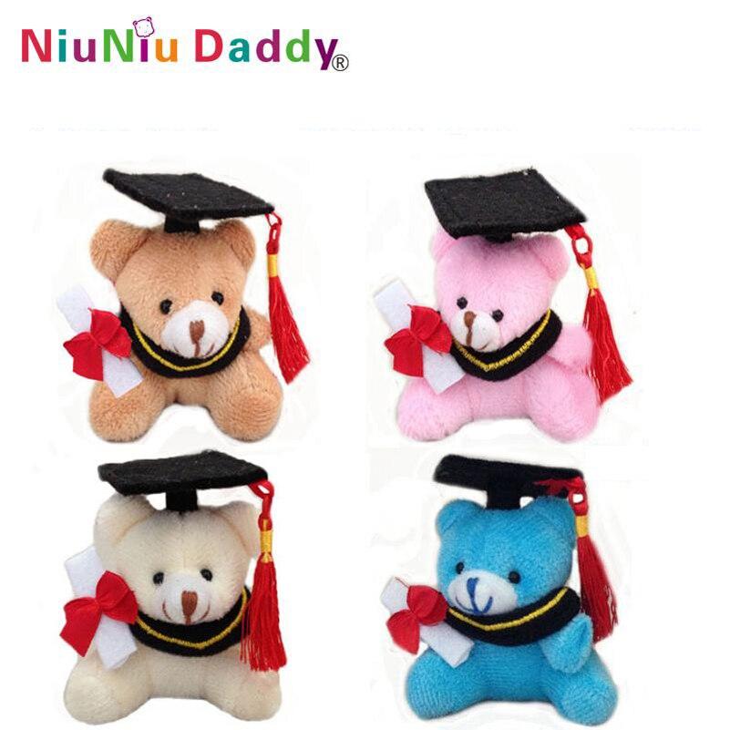7cm Plush graduation bear keychain with 4 colors Plush toys wholesale 40pcs lot