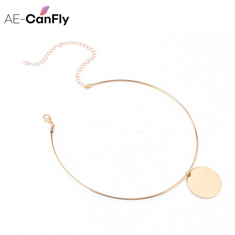 AE-CANFLY Simple Big Circle Collar Necklace Cuff Gold Silver Tone Metal Round Choker Necklace SALE 1L2009