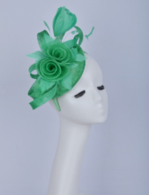2019 Green sinamay fascinator feather flower headpiece Kentucky Derby wedding races bridal shower mother of the bride w/sinamay