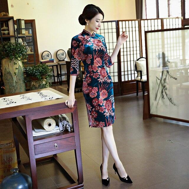 eccfca8bb0 Blue Velvet Chinese Traditional Women Mandarin Collar Slim Qipao dress Hot  Sale sexy Cheongsam Dresses Size M L XL XXL XXXL