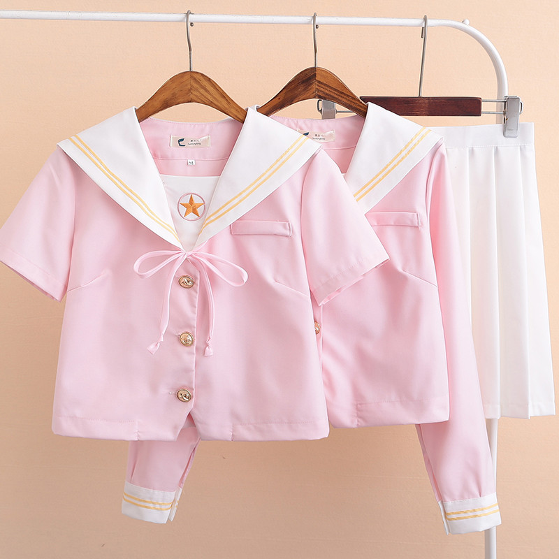 Party Cosplay Korean School Girl Uniform Spring Summer JK Uniforms Girls Cheerleading Chorus Sailor Shirt Pleated Skirt Suits