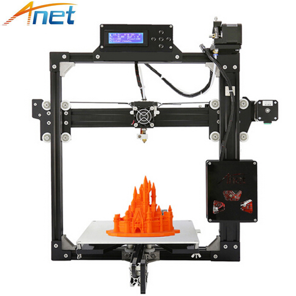 Anet A2 3D Printer Aluminium Metal DIY 3D Printer Kit LCD12864 220*220*270mm Three dimensions Printers with 1roll Filament Free 55ml aluminium sub tank printer part