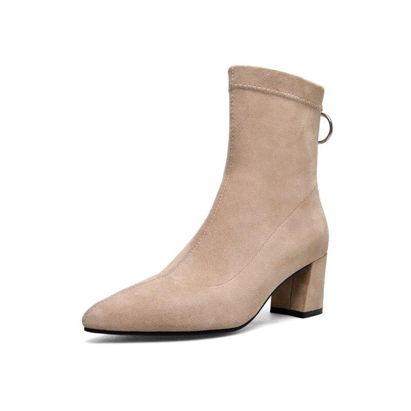 Egonnerie mi mollet bottes populaire nouvelle offre spéciale troupeau zipper haut sabot talons bout pointu hiver chaud trois couleurs femmes chaussures-in Bottines from Chaussures    3