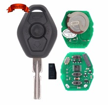 KEYECU EWS Rechargeable Remote Key Fob 3 Button 433.92MHz ID44 Chip for BMW 3 5 X series HU58