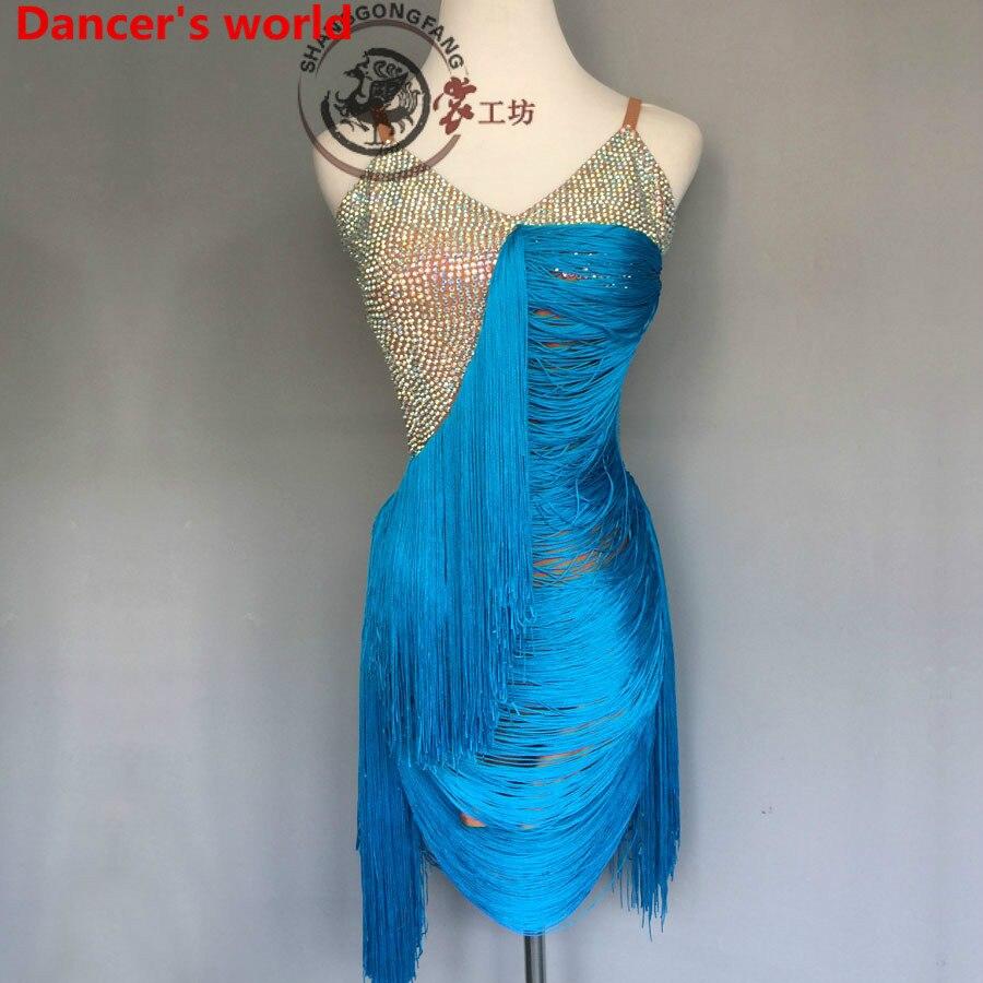 Sleeveless Fringe Skirt Women V-Collar Back Opening Latin Tango Ballroom Salsa Dance Dress Party Costume Tassel women Dresses