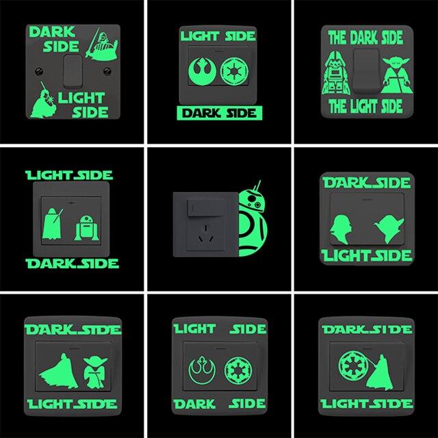 Star Wars Dark Side Light Side Lichtgevende Schakelaar Sticker Cartoon Glow in The Dark Muurstickers voor Kinderen Kamers Slaapkamer home Decor