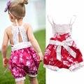 Moda Infantil Crianças Menina Floral Romper Do Bebê Macacão Cinta Rendas Roupas de Verão Recém-nascidos