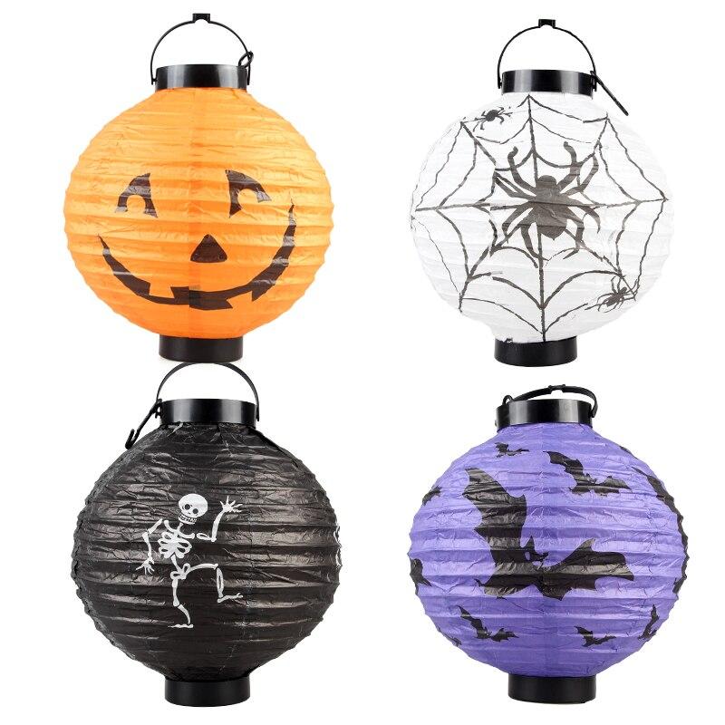 ᗖNovo LED Halloween Abóbora Pendurado Lanterna de Papel DIY Jack ...