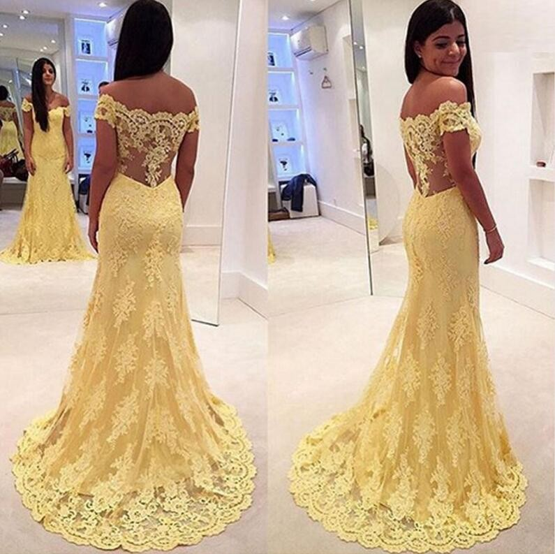 2018 Yellow Long Lace Mermaid  Evening Dresses Sleeveless Off The Shoulder Girls Prom Dresses Party Gowns Custom Made