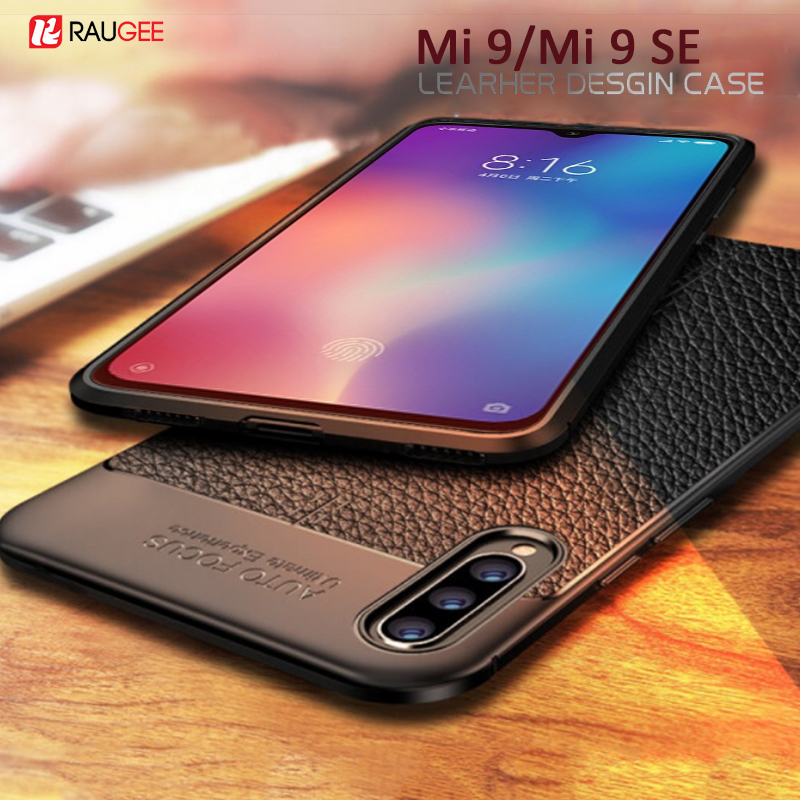 For Xiaomi Mi 9 SE Case Leather Style Cover Shockproof Durable TPU Phone Case for Mi 9 Mi9 SE Cover 360 Full Protection Bumper image