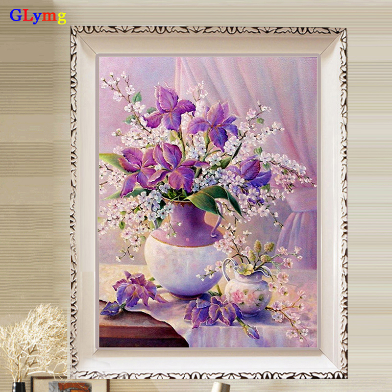 Full Bright Drill Diy Diamond Painting Cross Stitch Peony