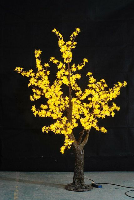 1.5M 5ft Yellow LED Simulation Cherry Blossom tree Light outdoor Christmas Wedding Garden Holiday Decor 480 LEDs waterproof