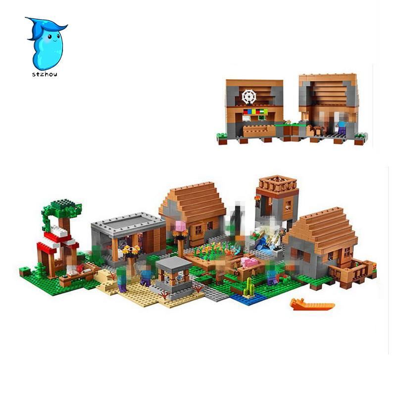 1600pcs Model building kits compatible with legos my worlds MineCraft Village blocks Educational toys hobbies for children model building kits compatible with lego the sky dragon my worlds minecraft 548 pcs model building toys hobbies for children