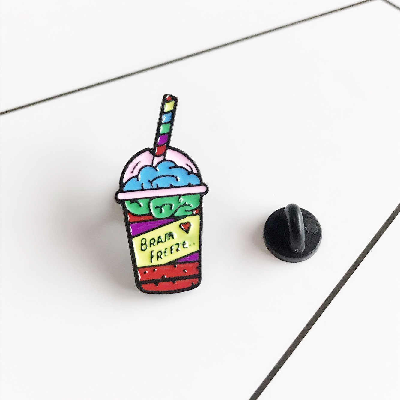 Броши Catoon для женщин, палка-мешкалка для коктейля эмалированные значки на булавке, забавные значки на рюкзаке, куртки с отворотом, модные украшения