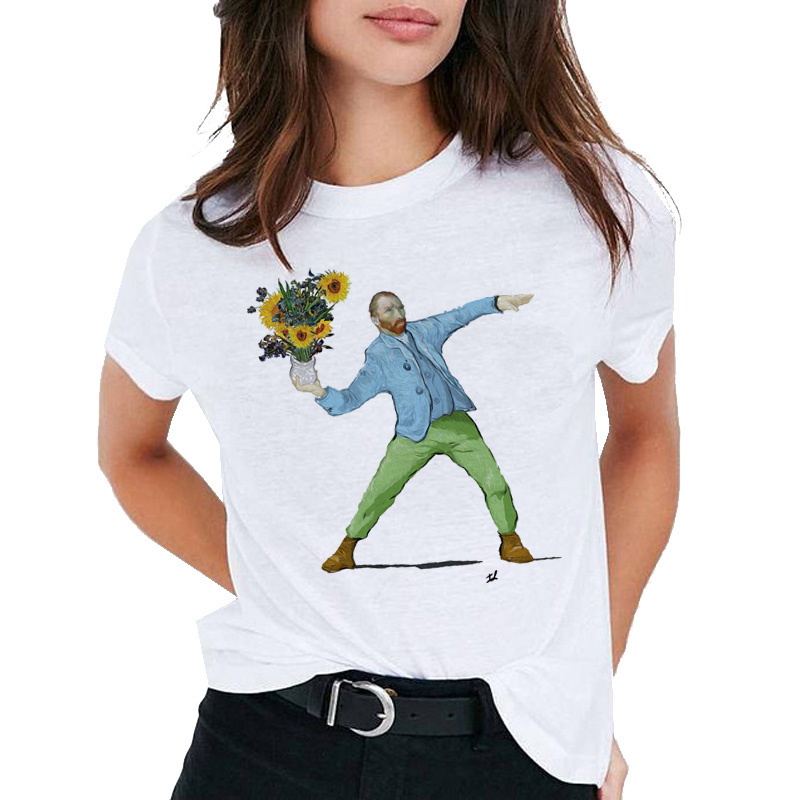 Van Gogh Art   t     shirt   women top Oil Print   t  -  shirt   female new streetwear 2019 Casual tshirt graphic tee   shirts   Harajuku Femme
