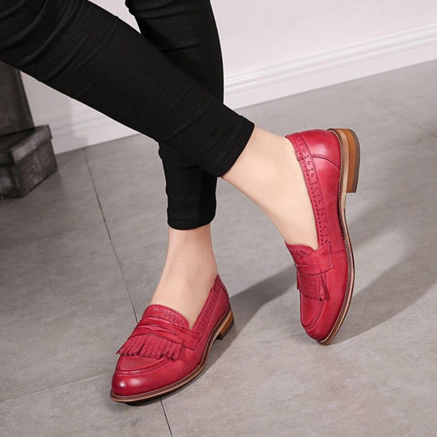100% echtem schaffell leder designer vintage yinzo damen wohnungen schuhe handgemachte rot schwarz beige oxford schuhe für frauen 2018-in Flache Damenschuhe aus Schuhe bei  Gruppe 1