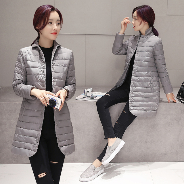 c74936d1d7 2018 Thin Women Quilted Parkas Long Women Cotton Padded Jacket Spring  Windproof Womens Spring Jackets Coats