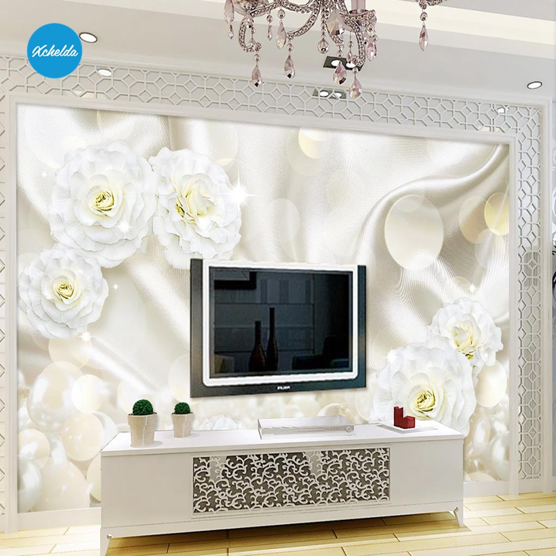 XCHELDA Custom 3D Wallpaper Design White Rose Jewelry Photo Kitchen Bedroom Living Room Wall Murals Papel De Parede Para Quarto xchelda custom modern luxury photo wall mural 3d wallpaper papel de parede living room tv backdrop wall paper of sakura photo