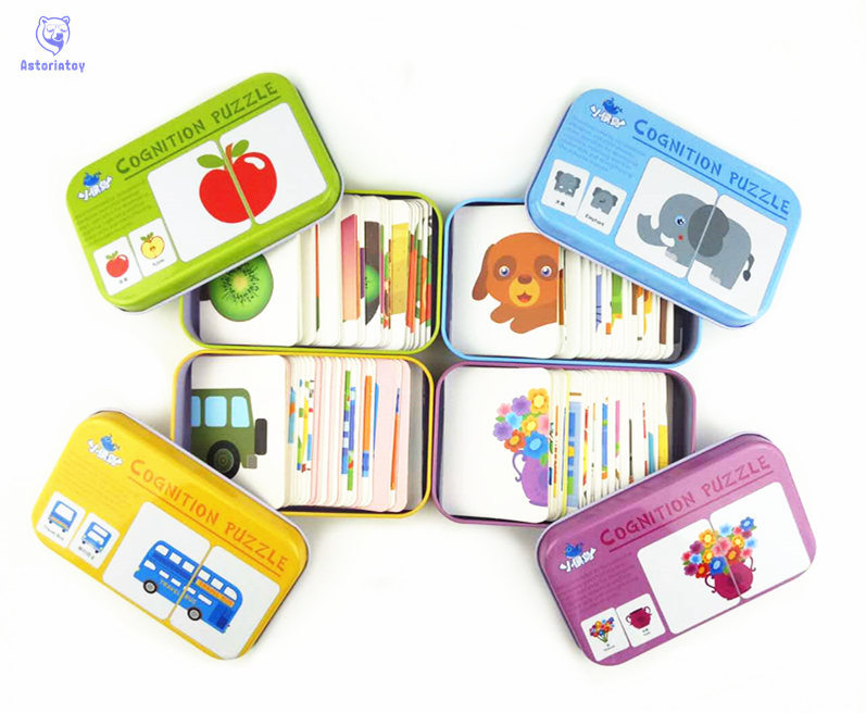 Baby Kids Cognition Puzzle Toys Toddler Iron Box Cards Matching Game Cognitive Card Vehicl/Fruit/Animal/Life Set Pair Puzzle