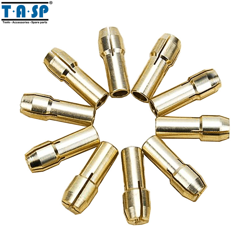 TASP 10pcs Latón Rotary Tool Collet Mini Drill Chuck Set 0.5 / 0.8 / 1.0 / 1.2 / 1.5 / 1.8 / 2.0 / 2.4 / 3.0 / 3.2mm Accesorios para herramientas eléctricas