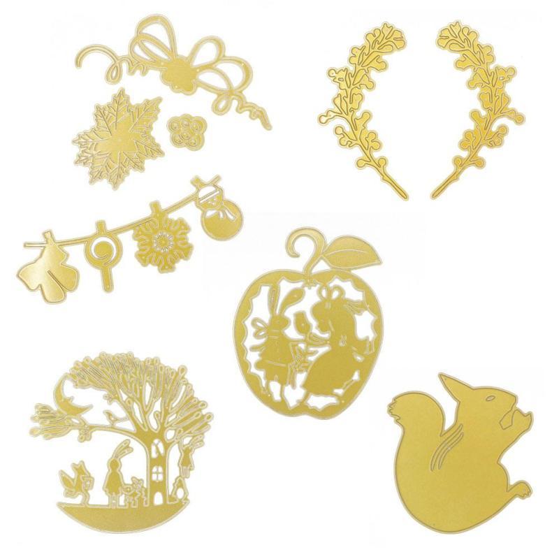 dies Christmas Halloween Gold metal cutting dies Rabbit Apple scrapbooking dies Stencils Embossing craft squirries cutting dies2