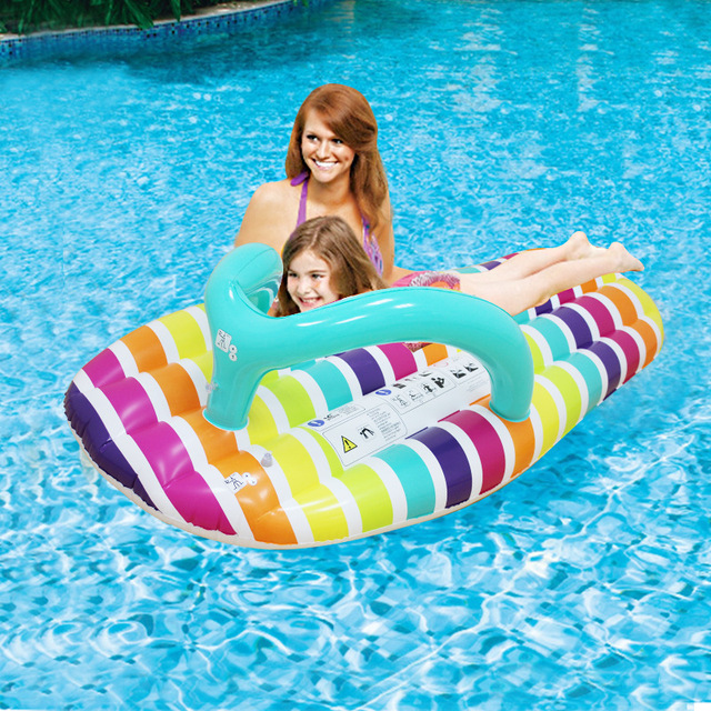 2017 Unique Giant Inflatable Floats Pool Stripe Slipper Slice Flip Ride On Water Toys Slippers Swimming Floats Ring 150*75cm