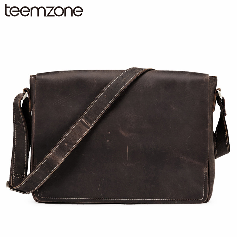 teemzone Vintage Men Crazy Horse Leather Briefcase Handbag Messenger Shoulder Laptop Bag Flap Pocket Messenger Travel Bag T8918 vintage genuine leather men briefcase bag business men s laptop notebook high quality crazy horse leather handbag shoulder bags