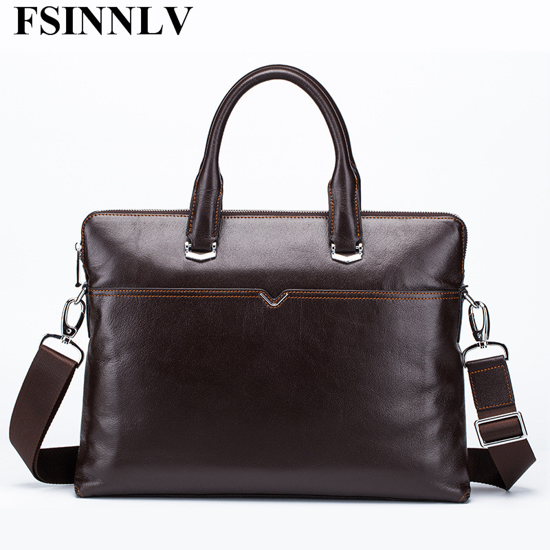 FSINNLV High Quality Genuine Leather font b Men b font font b Bags b font Briefcase