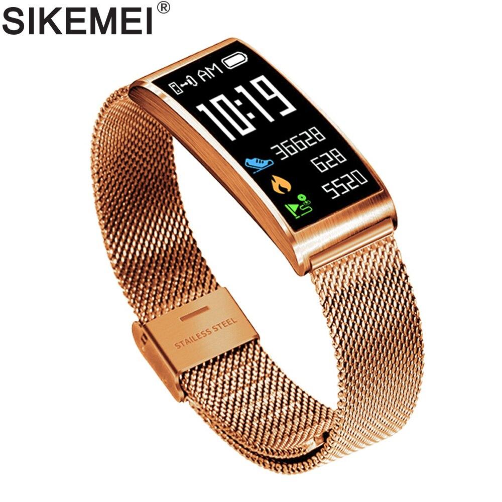 SIKEMEI Fitness Bracelet intelligent en acier Bracelet hommes étanche Sport bande fréquence cardiaque pression artérielle oxygène pour iPhone iOS Android