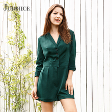 JUNNIOR 2018 Summer Women's Casual Jumpsuit Long Sleeve Suit Collar Solid Color One Piece Solid Color Button