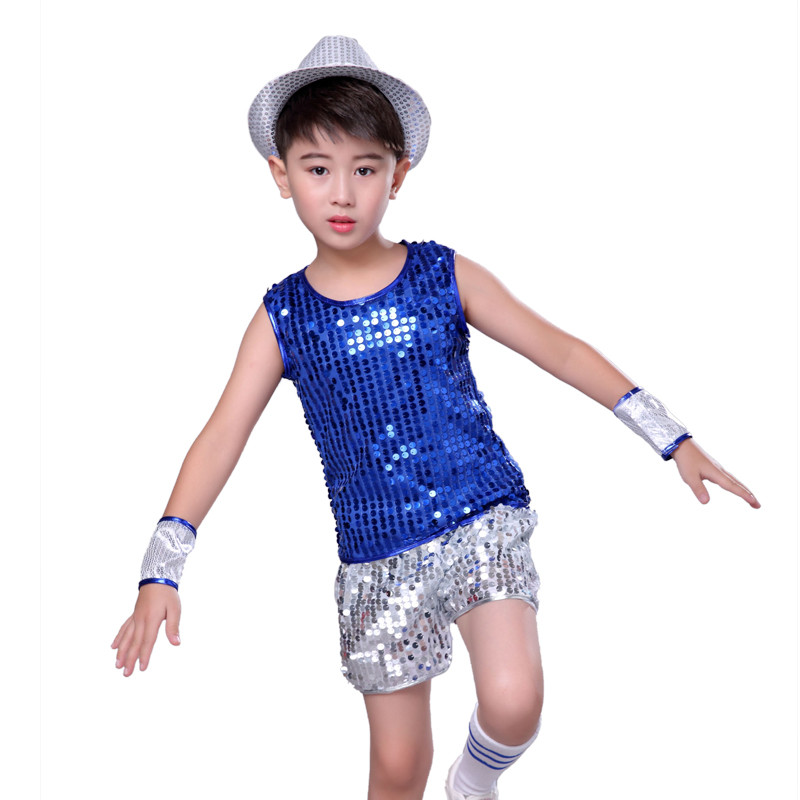 Girls Bright Sequined Dancing Costumes Dress Kids Glitter Sequin Shinning Jazz Dance Party Costume Boys Jazz Stage Wear 110 160