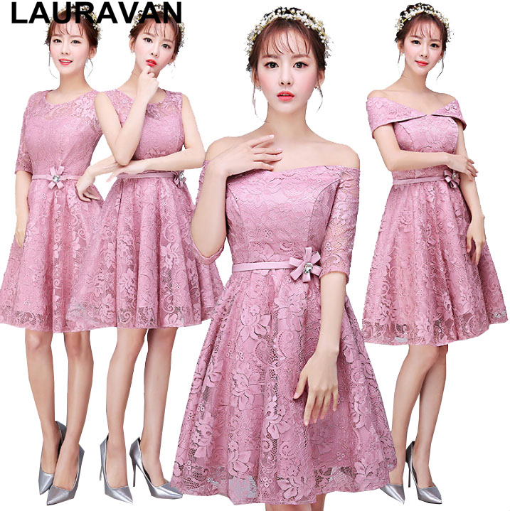 fashionable sleeved lace knee length robe de soiree women short bride lace sleeve ball gown   dress   blush   bridesmaid     dresses