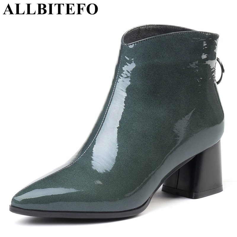 ALLBITEFO size:33-43 genuine leather pointed toe thick heel women boots brand high heels ankle boots women winter snow boots allbitefo plus size 34 42 genuine leather pointed toe low heeled women boots fashion brand thick heel ankle boots girls boots