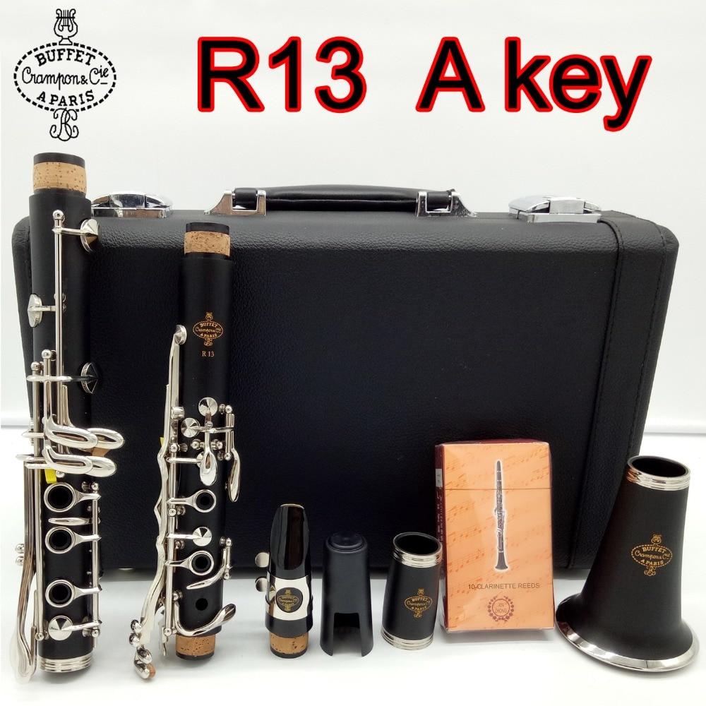 New BUFFET CRAMPON Clarinet Professional Level Model R13 Sandalwood Ebony Wood and Bakelite 2 Style Clarinet A Key 17 Keys