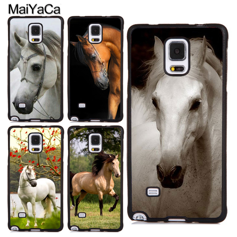 MaiYaCa White Brown Horse Running Printed Soft TPU Full Cover For Samsung S4 S5 S6 S7 Edge S8 S9 Plus Note 8 4 5 Phone Case