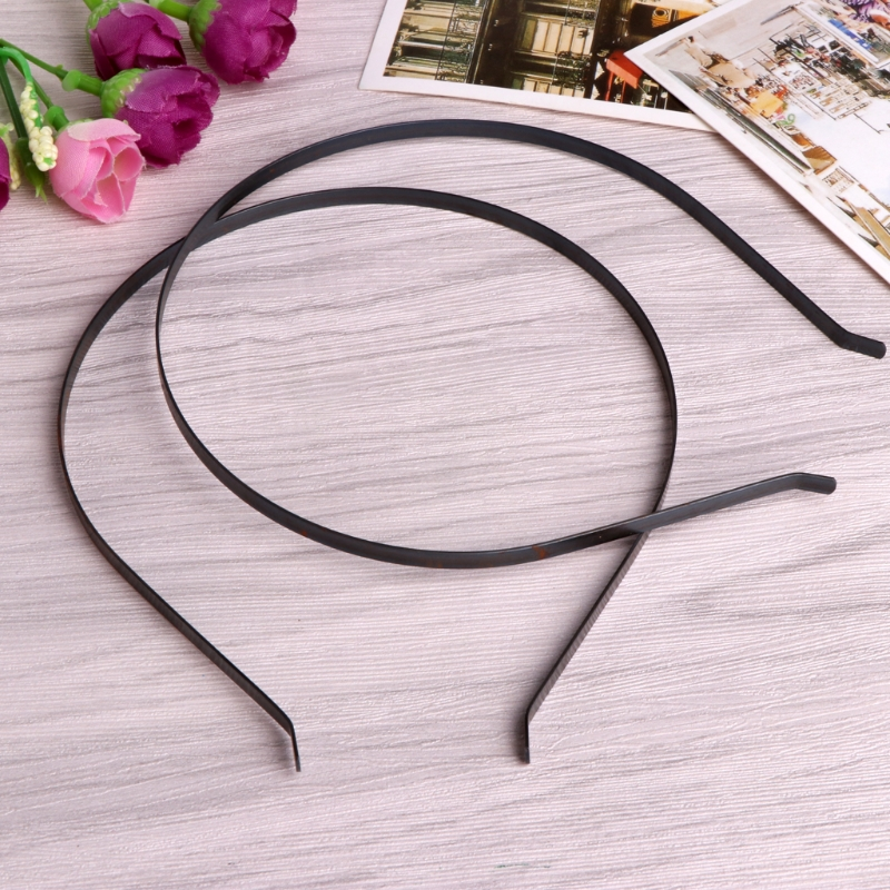 10pcs 3mm Black Metal Plain Headbands Hair Bands DIY Craft Making Accessory