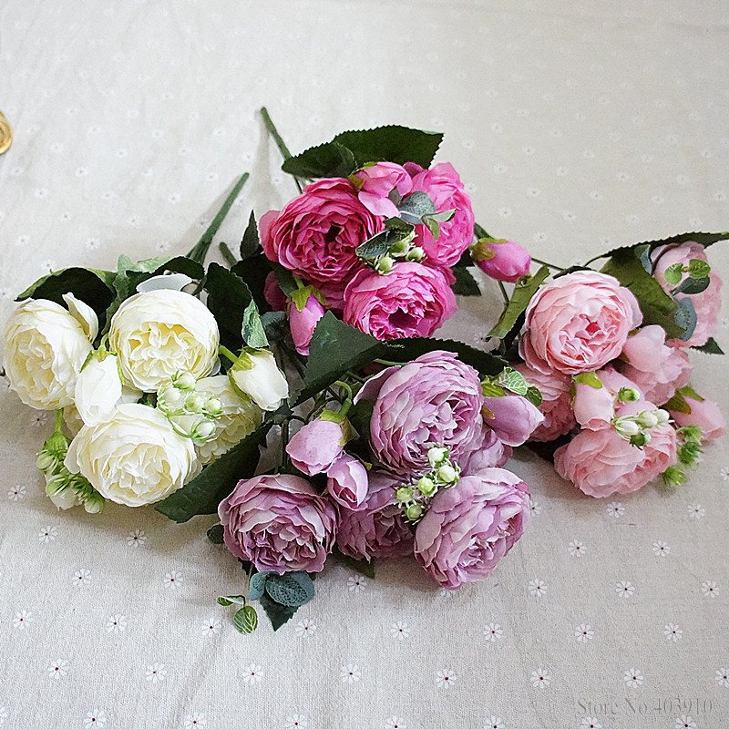 Silk Rose Peony Artificial Flowers Small Bouquet For Wedding Decoration 6