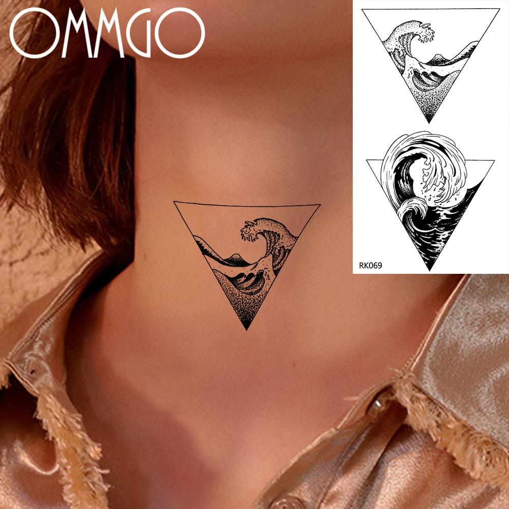 OMMGO Geometric Triangle Ocean Temporary Tattoos Sticker Black Wave Rolling Wave Fake Tattoo Custom Tatoos Body Art Women Men