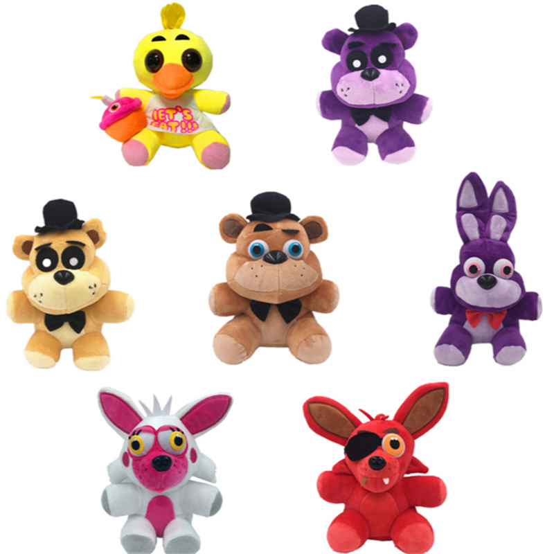 1pcs 18cm Five Nights At Freddy's FNAF Freddy Fazbear Bear Bonnie Chica Foxy Plush Toys Doll Soft Stuffed Animals Kids Toys Gift цена 2017