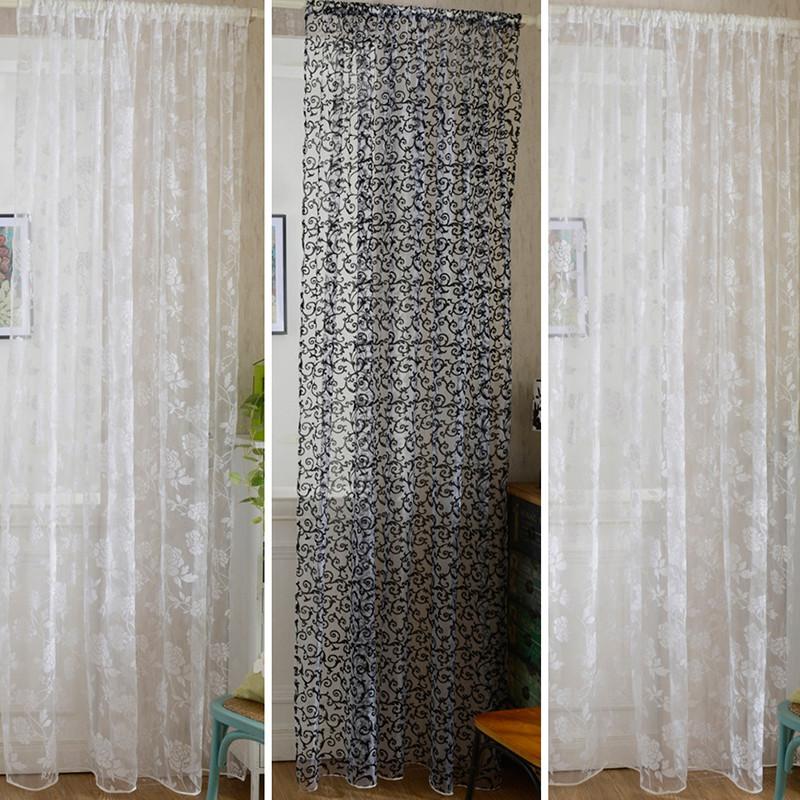 flores de peona moda cortinas de la ventana puerta tabique panel pura cortinas