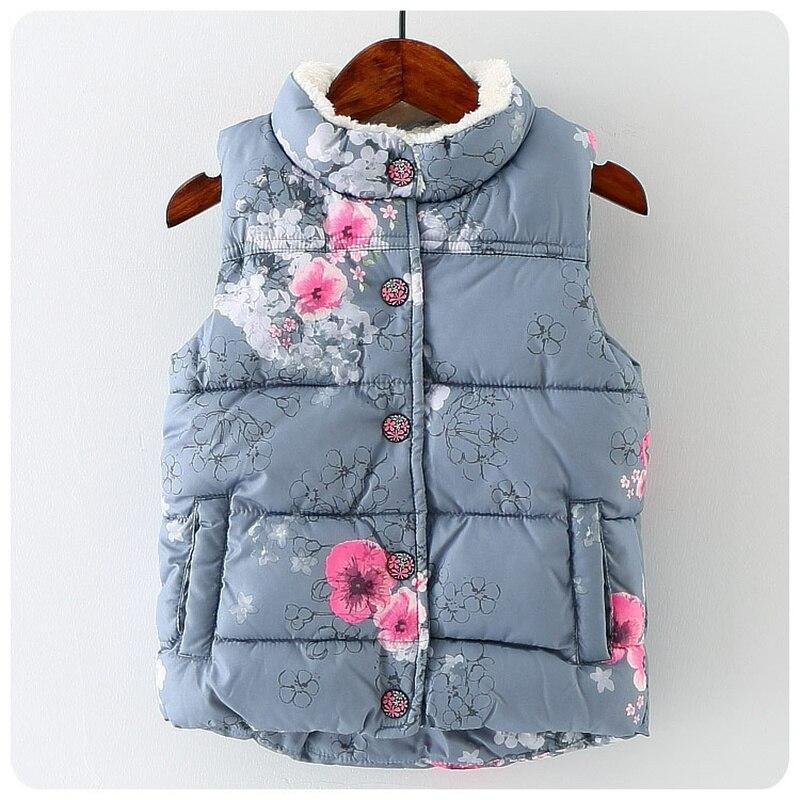Autumn Winter Baby Girls Vest Floral Girls Outerwear Coat Warm Kids Sleeveless Jacket Princess Girl kids
