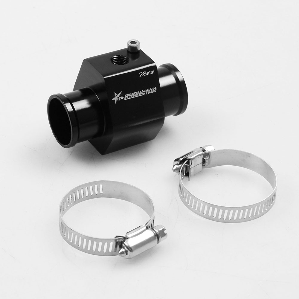 Dewhel Aluminum Black Water Temp Meter Temperature Gauge Joint Pipe Radiator Sensor Adaptor Clamps 38mm