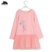 Girl Autumn Dress Long Sleeve Small Branches Of Art Pattern Lace Hem Floral Dress For 3