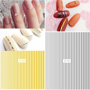 Image 2 - 1 Piece Rose Gold Silver 3D Nail Sticker Curve Stripe Lines Nails Stickers Adhesive Striping Tape Nail Art Stickers Decals