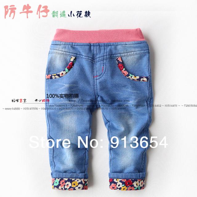 Nuevo 2014 del otoño del resorte niños jeans ropa de bebé polainas de la muchacha niños lindos pantalones de mezclilla de imitación Casual estampado de flores pantalones de bebé