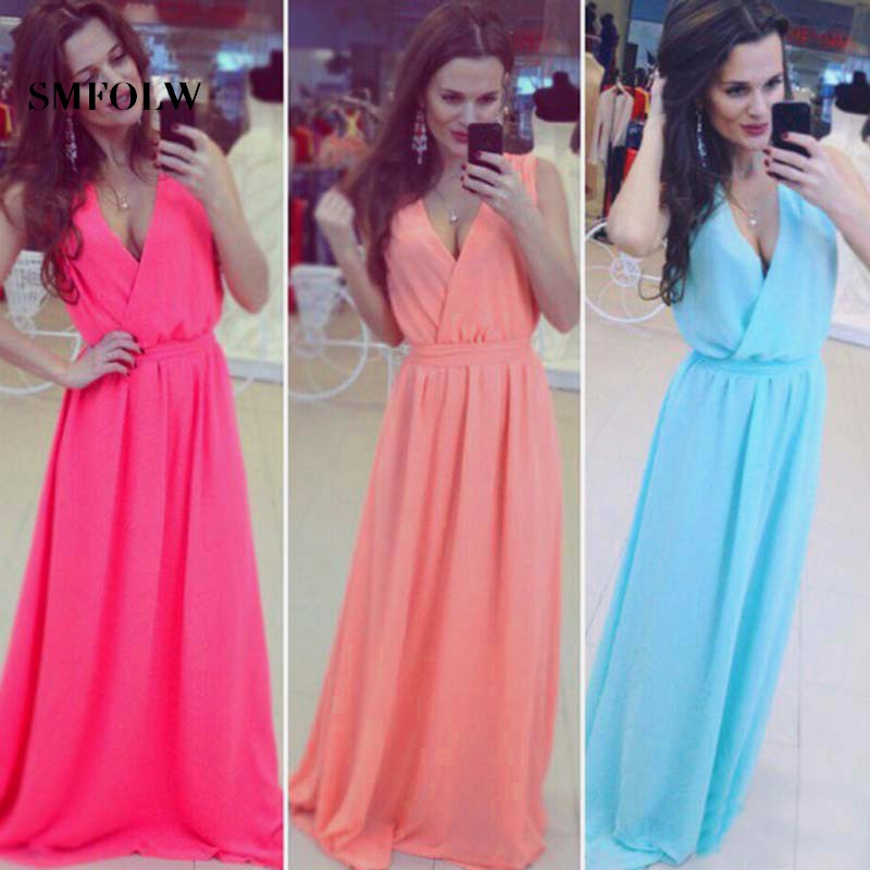 d8e75292da SMFOLW Seven color chiffon Women Summer Beach party Dress fashion high  waist Long Maxi sundress sexy Feminine vestidos clothes-in Dresses from  Women s ...