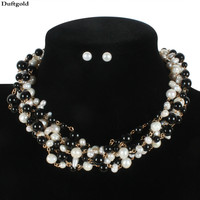 Black And White Real Natural Fresh Water Pearl Necklace Earrings European Clavicle Multilayer Pearls Jewelry Sets