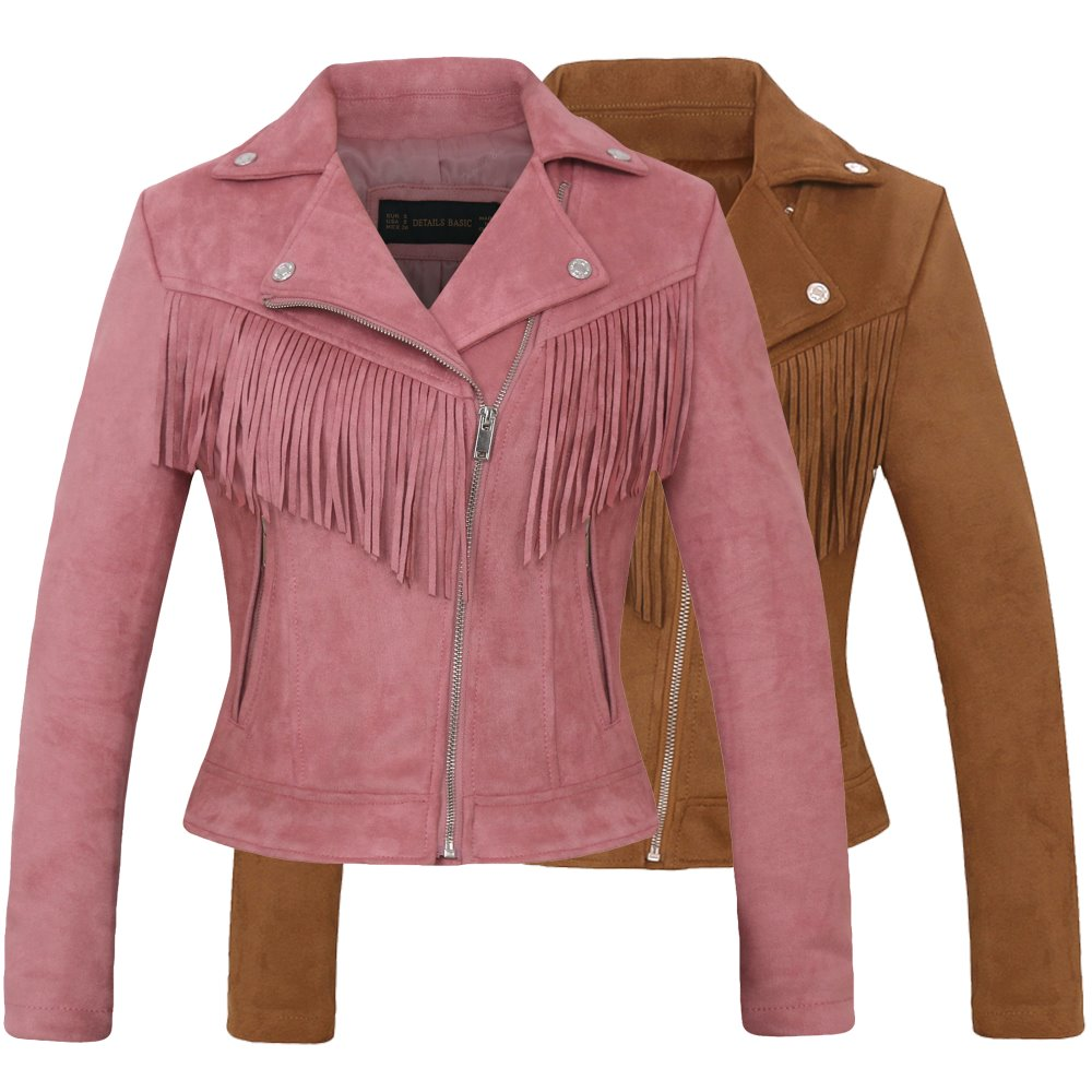 Women New Long Sleeve Back Tassels Long   Leather   Tassels Jacket The Misfit Fringe Color Brown Slim Boyfriend Style PU Jacket Coat