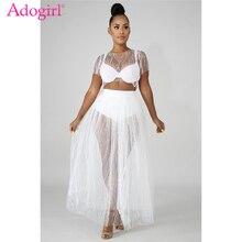 Adogirl Beaded Pearls Sheer Mesh Evening Party Dresses Elegant Women O Neck Shorts Sleeve Maxi Summer Dress Female Vestidos pearl beaded sheer mesh dress